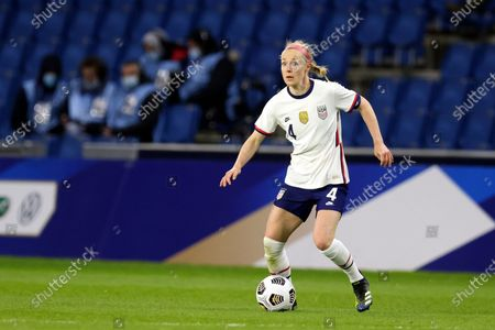 United States' Becky Sauerbrunn dribbles during an international friendly women's soccer match between the United States and France at the Michel d'Ornano stadium in Caen, France