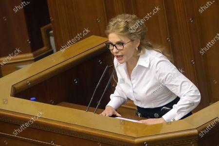 Batkivshchyna faction leader, MP Yulia Tymoshenko is seen at the rostrum during a sitting of the Ukrainian parliament, Kyiv, capital of Ukraine.