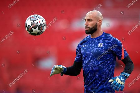 Stock Image of Willy Caballero of Chelsea during the warm-up before the UEFA Champions League Quarter Final Second Leg match between Chelsea FC and FC Porto at Estadio Ramon Sanchez Pizjuan on April 13, 2021 in Seville, Spain. Sporting stadiums around Spain remain under strict restrictions due to the Coronavirus Pandemic as Government social distancing laws prohibit fans inside venues resulting in games being played behind closed doors.