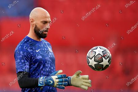 Willy Caballero of Chelsea during the warm-up before the UEFA Champions League Quarter Final Second Leg match between Chelsea FC and FC Porto at Estadio Ramon Sanchez Pizjuan on April 13, 2021 in Seville, Spain. Sporting stadiums around Spain remain under strict restrictions due to the Coronavirus Pandemic as Government social distancing laws prohibit fans inside venues resulting in games being played behind closed doors.