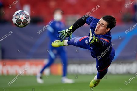 Kepa Arrizabalaga of Chelsea during the warm-up before the UEFA Champions League Quarter Final Second Leg match between Chelsea FC and FC Porto at Estadio Ramon Sanchez Pizjuan on April 13, 2021 in Seville, Spain. Sporting stadiums around Spain remain under strict restrictions due to the Coronavirus Pandemic as Government social distancing laws prohibit fans inside venues resulting in games being played behind closed doors.