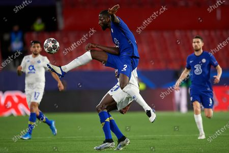 Stock Photo of Antonio Rudiger of Chelsea in aciton during the UEFA Champions League Quarter Final Second Leg match between Chelsea FC and FC Porto at Estadio Ramon Sanchez Pizjuan on April 13, 2021 in Seville, Spain. Sporting stadiums around Spain remain under strict restrictions due to the Coronavirus Pandemic as Government social distancing laws prohibit fans inside venues resulting in games being played behind closed doors.