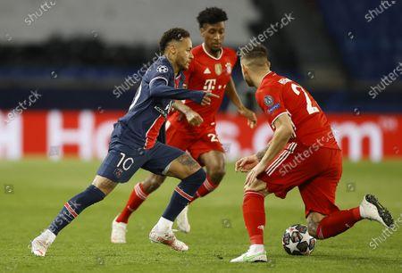 Bayern's Lucas Hernandez (R) and Paris Saint Germain's Neymar Jr (L) in action during the UEFA Champions League quarterfinal second leg soccer match between  Paris Saint-Germain and FC Bayern Munich, in Paris, France, 13 April 2021.