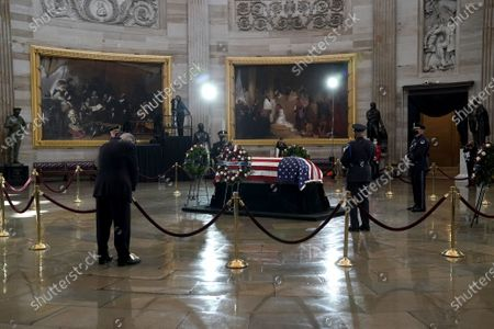 United States Representative Dan Kildee (Democrat of Michigan) pays his respects to U.S. Capitol Police officer William Evans as he lies in honor at the U.S. Capitol in Washington, D.C.,.