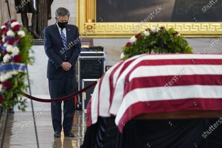"""United States Senator Steve Daines (Republican of Montana), pays respects at the casket of slain U.S. Capitol Police officer William """"Billy"""" Evans who is lying in honor at the Capitol in Washington,."""