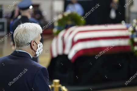 """Stock Picture of United States Senator Bill Cassidy (Republican of Louisiana), pay his respects to slain U.S. Capitol Police officer William """"Billy"""" Evans lies in honor during a ceremony at the Capitol in Washington,."""
