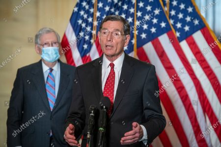 United States Senator John Barrasso (Republican of Wyoming) is joined by members of the Senate Republican leadership to offer remarks and field questions from reporters following the GOP luncheon in the Russell Senate Office Building in Washington, DC,.