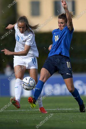 "Stock Image of Anna Bjork KristjanSdottir (Iceland)Cristiana Girelli (Italy)                during the Uefa ""Women s Euro 2022 England Qualifications"" match between Italy Women 1-1 Iceland Women  at Enzo Bearzot  Stadium in Florence, Italy."