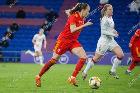 Natasha Harding (11 Wales)  controls the ball during the International Friendly game between Wales and Denmark at Cardiff City Stadium in Cardiff, Wales.