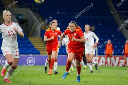Sofie Svava (23 Denmark) and Natasha Harding (11 Wales) battle for the ball during the International Friendly game between Wales and Denmark at Cardiff City Stadium in Cardiff, Wales.