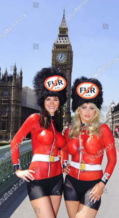 Lucy Clarkson and Victoria Eisermann, Peta's Europe's sexiest vegetarian 2007 bodypainted in Guards uniforms