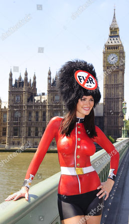 Model Lucy Clarkson bodypainted in a Guards uniform