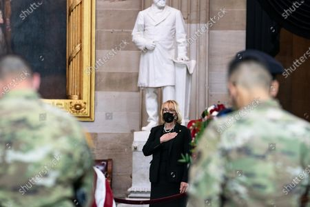 """United States Senator Maggie Hassan (Democrat of New Hampshire), pays her respects as the late Officer William """"Billy"""" Evans lies in honor in the Rotunda of the US Capitol in Washington, DC in Washington, DC,."""