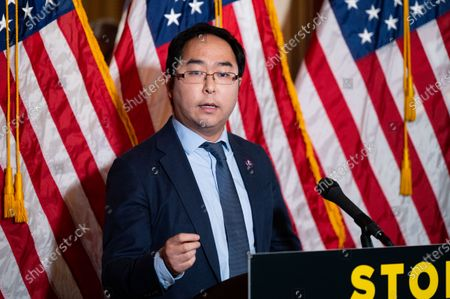 U.S. Representative Andy Kim (D-NJ) speaks at a press conference about the COVID-19 Hate Crimes Act.