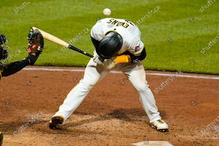 Pittsburgh Pirates' Phillip Evans is hit by a pitch by San Diego Padres relief pitcher Nabil Crismatt during the sixth inning of a baseball game in Pittsburgh