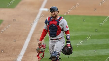 Boston Red Sox Christian Vazquez (7) during the eighth inning of a baseball game against the Minnesota Twins, in Minneapolis. Boston won 4-2