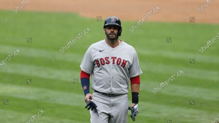 Boston Red Sox J.D. Martinez (28) during the eighth inning of a baseball game against the Minnesota Twins, in Minneapolis. Boston won 4-2