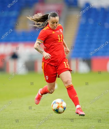 Wales Natasha Harding seen in action during the Womens Friendly match between Wales and Denmark at Cardiff City Stadium. Final score; Wales 1:1 Denmark)
