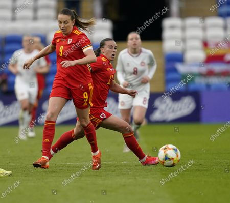 Natasha Harding (L) and Kayleigh Green are seen in action during the Womens Friendly match between Wales and Denmark at Cardiff City Stadium. Final score; Wales 1:1 Denmark)