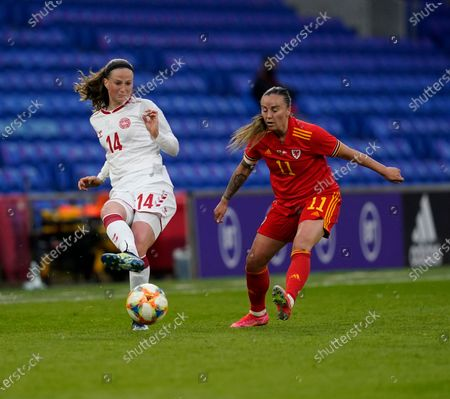 Nicoline Sorensen (L) and Natasha Harding are seen in action during the Womens Friendly match between Wales and Denmark at Cardiff City Stadium. Final score; Wales 1:1 Denmark)