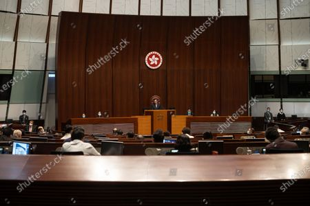 Andrew Leung Kwan-yuen (C), President of the Legislative Council, presides over a session at the Legislative Council in Hong Kong, China, 14 April 2021. Lawmakers reviewed the Improving Electoral System (Consolidated Amendments) Bill 2021, a series of amendments to local laws in line with the sweeping electoral reforms initiated by Beijing in March to ensure only 'patriots' can rule the city.