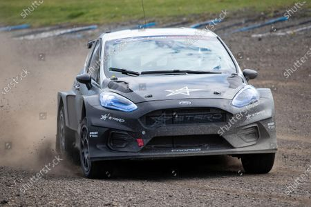 The STARD ERX with Sir Chris Hoy at the wheel during the 5 Nations British Rallycross Championship Media Day at Lydden Hill Race Circuit on 14th April 2021
