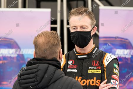 Matt Neal in conversation in the STARD ERX marquee during the 5 Nations British Rallycross Championship Media Day at Lydden Hill Race Circuit on 14th April 2021