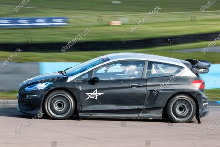 Sir Chris Hoy takes the Stard Ford Electric supercar for a spin during the 5 Nations British Rallycross Championship Media Day at Lydden Hill Race Circuit on 14th April 2021