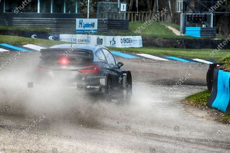 Sir Chris Hoy powers through Paddock Bend in the STARD ERX electric supercar during the 5 Nations British Rallycross Championship Media Day at Lydden Hill Race Circuit on 14th April 2021