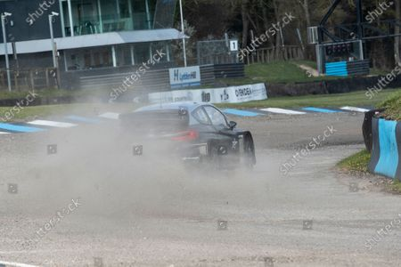 Sir Chris Hoy takes the Stard Ford Electric supercar through Paddock Bend during the 5 Nations British Rallycross Championship Media Day at Lydden Hill Race Circuit on 14th April 2021