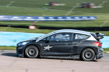 Sir Chris Hoy behind the wheel of the Stard Ford Electric supercar during the 5 Nations British Rallycross Championship Media Day at Lydden Hill Race Circuit on 14th April 2021
