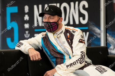 A relaxed Sir Chris Hoy following his test drive of the Stard Electric Ford during the 5 Nations British Rallycross Championship Media Day at Lydden Hill Race Circuit on 14th April 2021