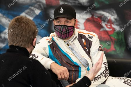 Stock Photo of Sir Chris Hoy in Conversatoin during the 5 Nations British Rallycross Championship Media Day at Lydden Hill Race Circuit on 14th April 2021