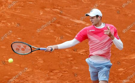 Hubert Hurkacz of Poland in action during his third round match against Daniel Evans of  Britain at the Monte-Carlo Rolex Masters tournament in Roquebrune Cap Martin, France, 14 April 2021.