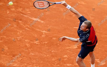 Daniel Evans of Britain in action during his third round match against Hubert Hurkacz of Poland at the Monte-Carlo Rolex Masters tournament in Roquebrune Cap Martin, France, 14 April 2021.