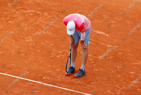 Hubert Hurkacz of Poland reacts during his third round match against Daniel Evans of Britain at the Monte-Carlo Rolex Masters tournament in Roquebrune Cap Martin, France, 14 April 2021.
