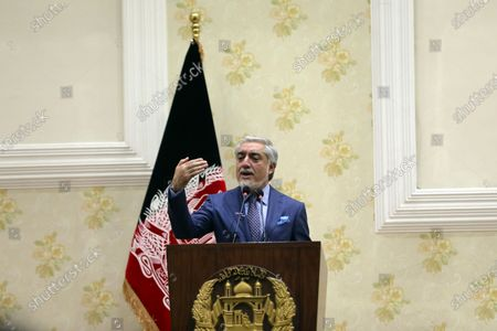 Abdullah Abdullah, Chairman of the High Council for National Reconciliation, speaks during a press conference in Kabul, Afghanistan