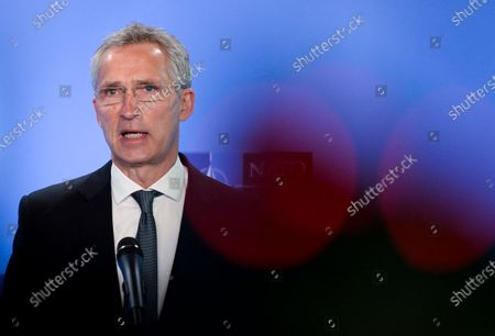 NATO Secretary General Jens Stoltenberg delivers a statement as he meets with U.S. Secretary of State Tony Blinken