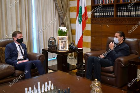 Lebanese Prime Minister-designate Saad Hariri (R) meets with US Under Secretary for Political Affairs David Hale (L) at Hariri's house in downtown Beirut, Lebanon, 14 April 2021. Hale is on a two-day visit to Beirut for talks with senior Lebanese officials.