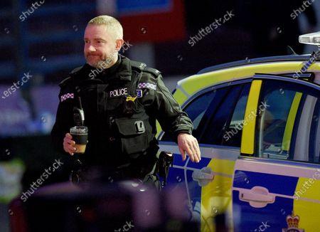 Martin Freeman filming The Responder. He plays a policeman.