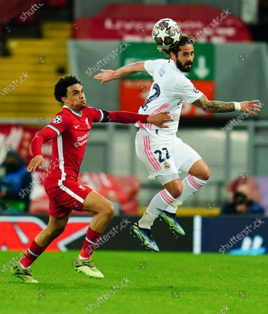 Trent Alexander-Arnold of Liverpool battles with Isco of Real Madrid