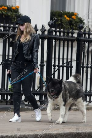 Stock Photo of Exclusive - Natalie Viscuso walking Henry Cavill's dog Kal around Central London