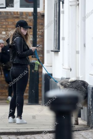 Stock Picture of Exclusive - Natalie Viscuso walking Henry Cavill's dog Kal around Central London
