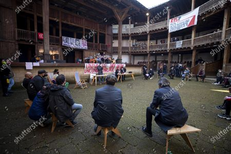 Italian Minister of Culture Dario Franceschini (C, rear view) sits together with the show workers who occupied the Globe Theatre at Villa Borghese in Rome, Italy, 14 April 2021. 'After more than a year since the blockade of live performances, we are calling for a structural reform of the sector. We do not want a reopening without security, which will lead us back into an even more uncertain and insecure world of work. We reopen this space to all the precarious, to all the exploited, to regain a time of comparison and self-training', the occupants write on Facebook, also assuring that 'everything is taking place in compliance with health regulations' and they swabbed for COVID-19.