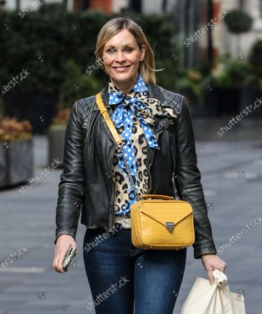 Jenni Falconer is seen departing from her Smooth FM show at the Global Radio Studios.