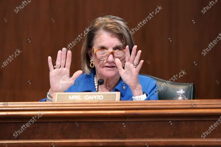 Sen. Shelley Moore Capito (R-W.Va.) questions Robert Fenton, Jr., a senior official performing the duties of  FEMA Administrator, during a Senate Appropriations Subcommittee hearing to examine FEMA's response to COVID-19, on Capitol hill, Washington, DC, USA, on 14 April 2021.