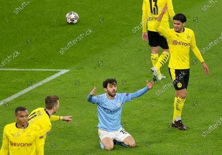 Stock Picture of Manchester City's Bernardo Silva (C) reacts during the UEFA Champions League quarter final, second leg soccer match between Borussia Dortmund and Manchester City in Dortmund, Germany, 14 April 2021.