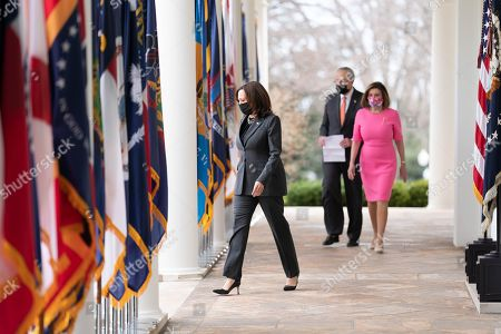 President Joe Biden and Vice President Kamala Harris walk from the Oval Office of the White House Friday, March 12, 2021, to the Rose Garden to deliver remarks on the American Rescue Plan. (Official White House Photo by Lawrence Jackson) Kamala Harris