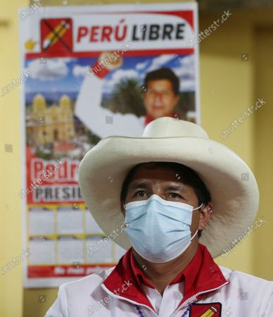 Presidential candidate of the Free Peru party Pedro Castillo attends a conference in Chota, Peru, . Castillo and Keiko Fujimori, daughter of imprisoned ex-President Alberto Fujimori and candidate of the Popular Force party, will dispute the presidential run-off on June 6