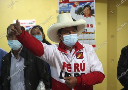 Presidential candidate of the Free Peru party Pedro Castillo, speaks during a conference in Chota, Peru, . Castillo and Keiko Fujimori, daughter of imprisoned ex-President Alberto Fujimori and candidate of the Popular Force party, will dispute the presidential run-off on June 6